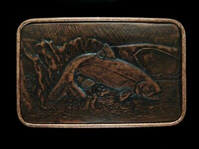 NE15116 *NOS* VINTAGE 1970s **TROUT FISH HOOKED ON LINE** LEATHER FISHING BUCKLE