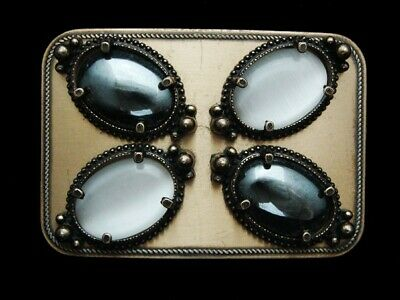 NF19106 VINTAGE 1970s **SILVER & WHITE STONE** WESTERN & COWBOY BELT BUCKLE