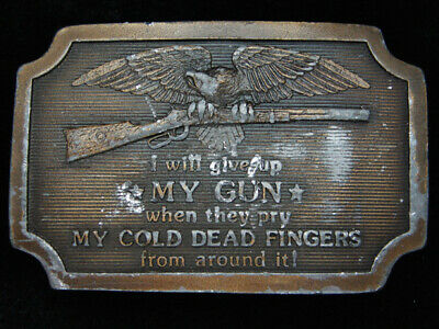 Pk13124 Vintage 1977 **I Will Give Up My Gun When...** 2Nd Amendment Belt Buckle