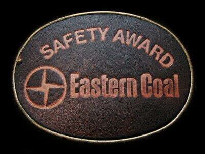 LC05119 VINTAGE 1970s ***EASTERN COAL*** SAFETY AWARD LEATHER MINING BELT BUCKLE
