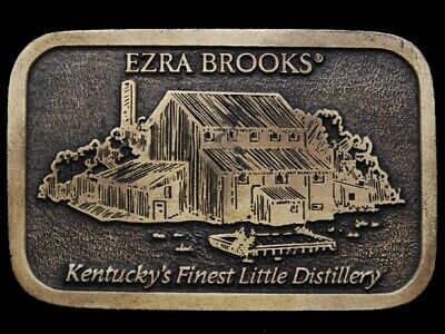 JK21153 VINTAGE 1970s ***EZRA BROOKS DISTILLERY*** WHISKEY BOOZE BELT BUCKLE