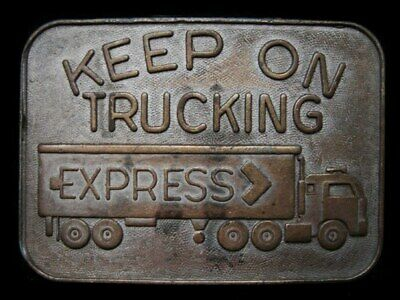 LC05159 VINTAGE 1970s ***KEEP ON TRUCKING*** (EXPRESS TRUCK) BELT BUCKLE
