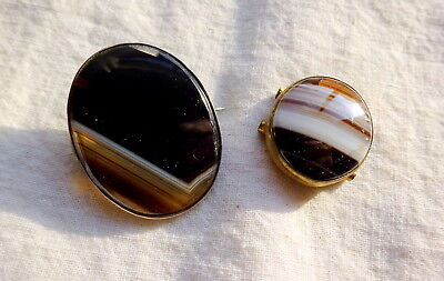 Beautiful Pair Victorian Banded Agate Specimen Silver Brooch & Bracelet Element