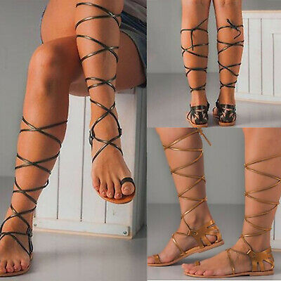 d817fd2759415 Women Knee High Gladiator Sandals Strappy Flat Lace Up Ring Toe Roman Shoes  Size