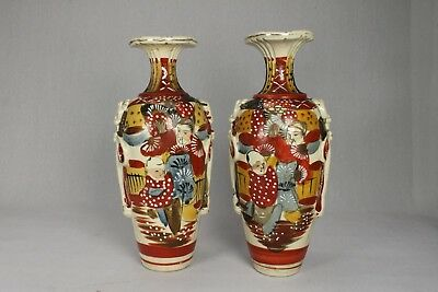 Pair of Antique Japanese Pottery tall Urn Vases Pictorial Hand Painted Slip Ware