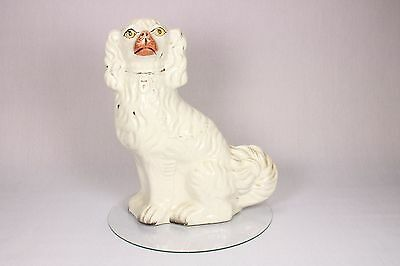 19th Century Antique Gilded White Staffordshire Ceramic Spaniel Wally Dog Figure