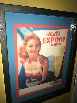 Hull's Export Pin-Up Girl Beer Bar Tavern Man Cave Lighted Advertising Sign