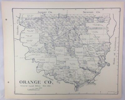 Antique General Land Office Map Orange County Texas Showing Plats ++