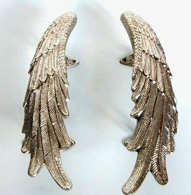 2 ANGEL WING hollow brass door PULL old style SILVER wings PULL handle 33cm B