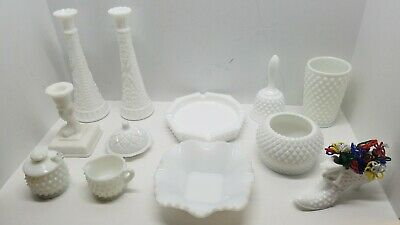 Vtg Lot of Milk White Hobnail Glass Collectibles Vase Bowl Dish Bell Shoe Candle