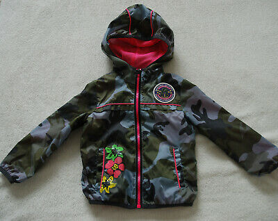 REPLAY Baby Girl Hooded Light Jacket Windcheater Waterproof Camo Green 18mths
