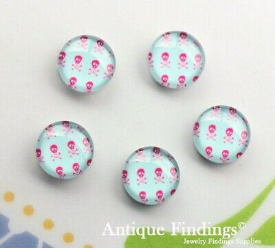 10PCS 12mm Sugar Skull Handmade Glass Dome Cabochon Cameo Cabs BCH257V