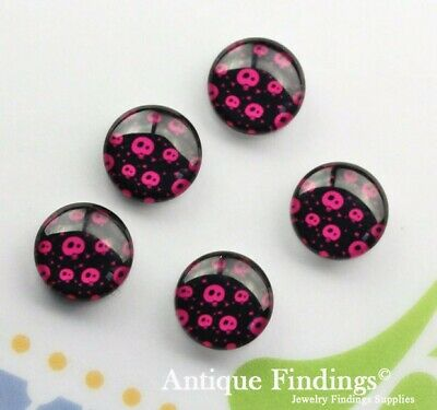 10PCS 12mm Sugar Skull Handmade Glass Dome Cabochon Cameo Cabs BCH257S