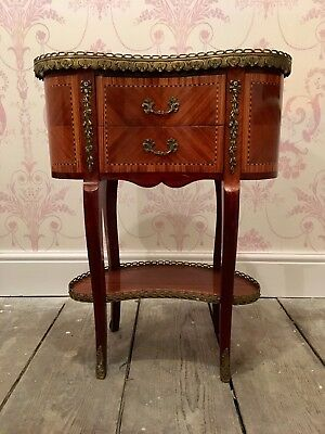 French Louis XVI Antoinette Inlaid Wood Bow Swag Ormolu Side Table Drawers Shelf