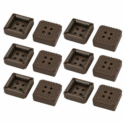12 Pcs PLCC Straight 2 Rows 44 Terminals Square Socket Connector Brown