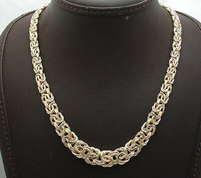 """18"""" Bold Shiny Graduated Byzantine Chain Necklace Real 14K Yellow Gold 19.7gr"""