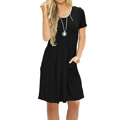 Female Maxi Dress Short Sleeve Crew Neck With Pockets Casual Chic Short Dress BS