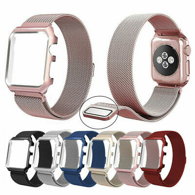 Stainless Steel iWatch Band Strap+Cover Case For Apple Watch 4/3/2/1 Milanese