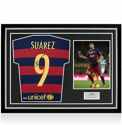 766f2980c Luis Suarez Signed Barcelona 2015-16 Home Shirt With Fan Style Number In  Hero Fr