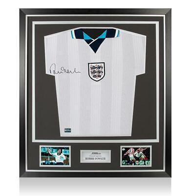 Robbie Fowler Front Signed England 1996 Home Shirt In Classic Frame