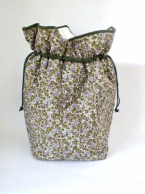 Knitting Bag Craft Bucket Duffle Green Lilac Liberty Style Floral Print