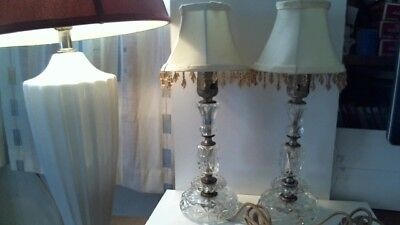 Pair Gorgeous Vintage Glass Lamps With Shades