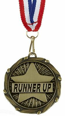 Pack of 50 Personalised Runner Up Medals & Ribbons ENGRAVED FREE (G)