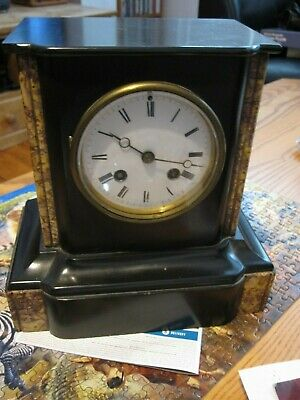 Beautiful Victorian clock no keys Mechanism has repeat chime a few marks on case