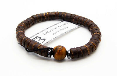 "Mens Beaded Bracelet Tigers Eye Coconut Beads 7.5"" Stretch Surfer Wristband UK"