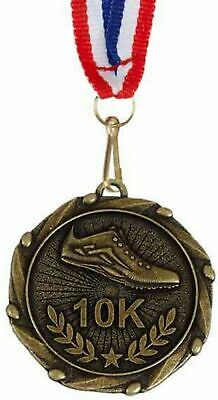 Pack of 50 Personalised 10 K Running Jogging Medals & Ribbons ENGRAVED FREE (G)