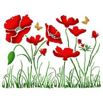 F3 Poppies Remembrance Day BIG SIZES Reusable Stencil Wall Decor Shabby Chic