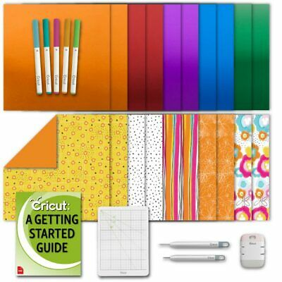 Cricut Deluxe Paper Vibrant Flowers, Bejeweled Foil Poster Board, Pens, Tool Kit