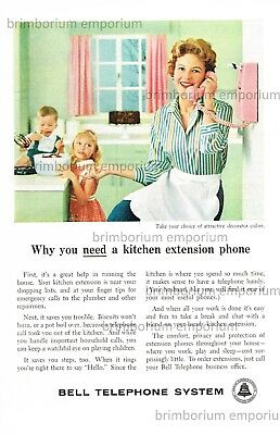 Bell Telephone System A KITCHEN EXTENSION PHONE - Original Anzeige von 1959