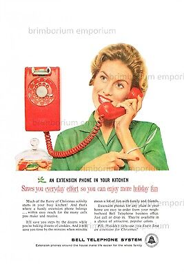 Bell Telephone System EXTENSION PHONE IN YOUR KITCHEN  Original Anzeige von 1959