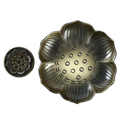 Lotus Incense Burner Flower Statue Censer Sticks Tower Cone Plate Holder LD