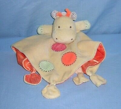 Carters Security Blanket Plush Satin GIRAFFE LOVEY Yellow Orange Circles Rattle