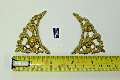 a) PAIR ARCH CLOCK SPANDRELS Cast Yellow Brass Lantern/Bracket/Hooded, smaller