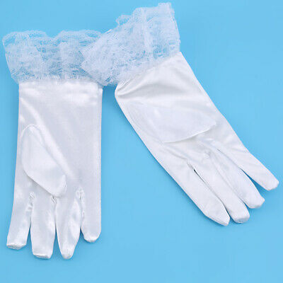 Kids Lace White Bow Short Gloves Wedding Flower Girl Party Princess Gloves MP