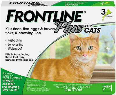 Front Line Plus Flea Medicine For Cats Over 8 Weeks/1.5 Lbs. 3 Month Supply Pack