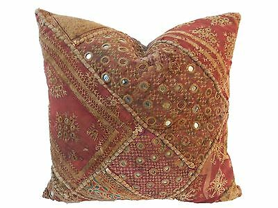 "Superb Custom Made Vtg Patchwork Pillow India 16"" W"