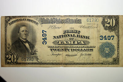 1902 The First National Bank of Tampa $20.00 National Bank Note Very Good(61790)