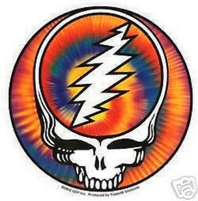 """Grateful Dead Steal Your Face Syf Tie Dye Round Sticker 5"""" Across New"""