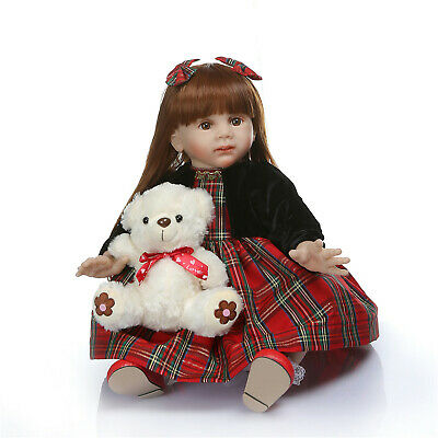 Real Looking Brown Hair Reborn Baby Girl Dolls 24inch Toddler Dolls Baby Gifts