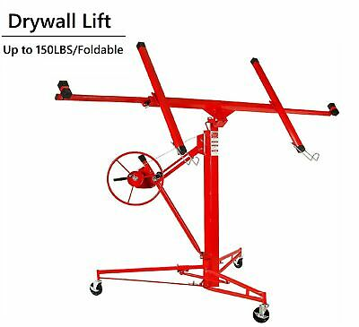 Red Drywall Lift 11'Panel Lifter Tool Sheetrock Hanging Rolling Caster Hoist