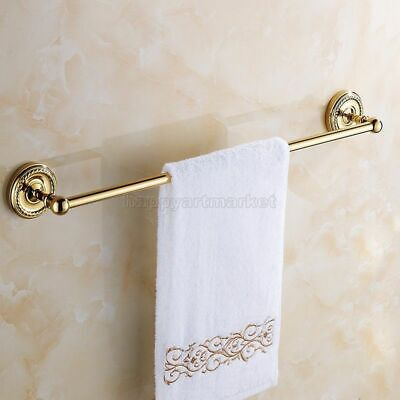 Gold Color Brass Towel Rail Holder Bathroom Wall Mounted Single Towel Rails Bars