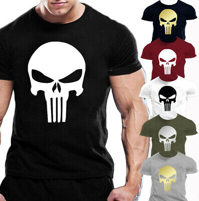 Punisher Tshirts Marvel Skull Crew Neck Summer Cotton Mens Gym Unisex Black Tee