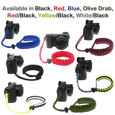 New Universal Black Braided 550 Paracord Adjustable Camera Wrist Strap Bracelet