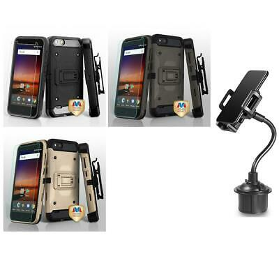 FOR ZTE ZFIVE G LTE Z557BL Heavy Duty DEFENDER Case With Belt Clip