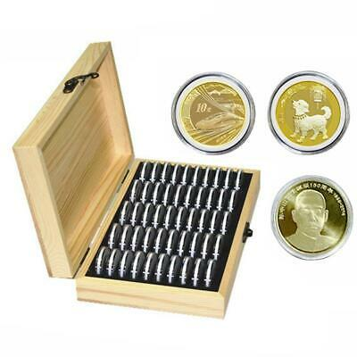 50 Grid Wooden Round Case Coin Capsule Storage Holder Box Display Container