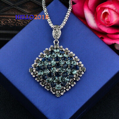 Antique Silver Plated Cubic Zirconia Paved Square Pendant Necklaces For Women
